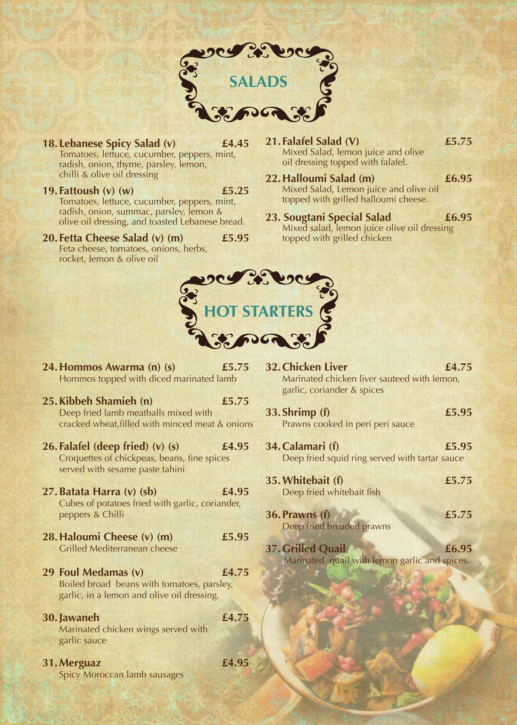 vegan restoran v menüü